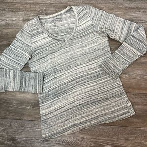 Eddie Bauer Striped Perfect Long Sleeve V-Neck XS